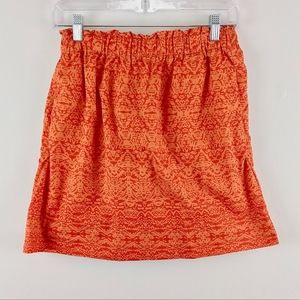 Joe Fresh Circle Short Skirt Batik Print Orange XS